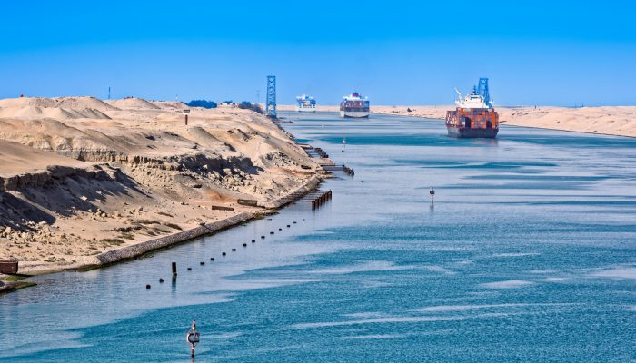 Shipping Container On Suez Canal